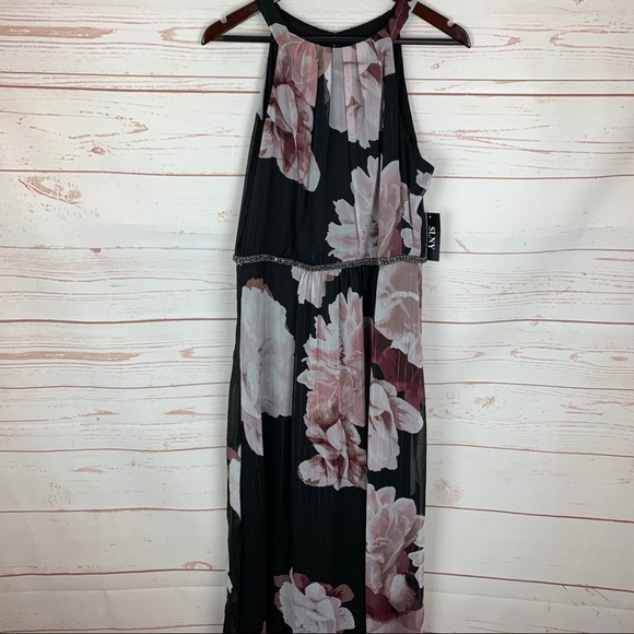 SLNY | Mauve Floral Black Chiffon Maxi Dress